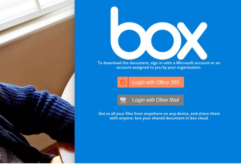 Box-teemainen tietojenkalastelusivu, joka pyytää kirjautumaan käyttäjätunnuksilla.