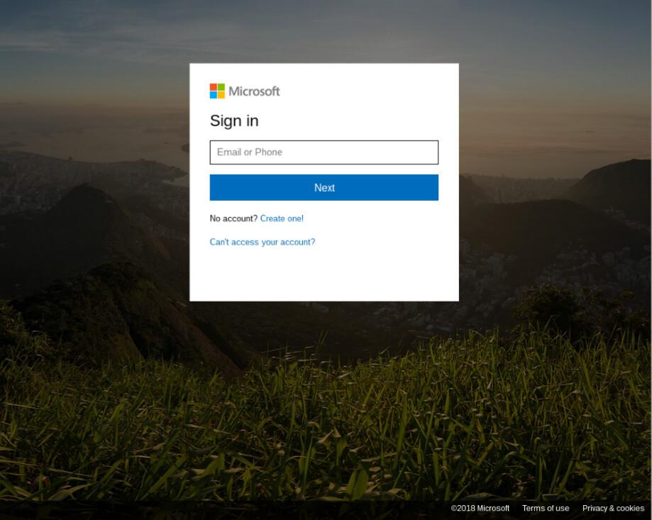 Kalastelusivu, joka pyytää kirjautumaan Office 365 -tunnuksilla sisään